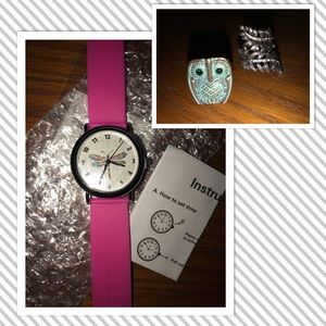 🍁NWT Pink Dragonfly Watch + FREE RING SET!